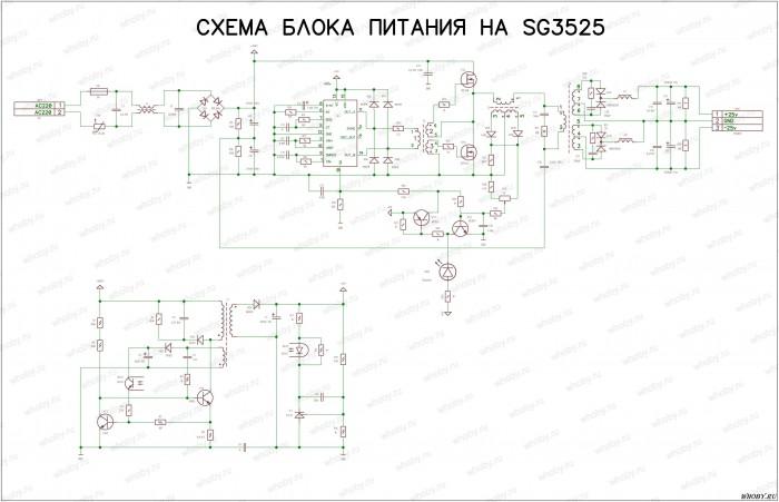 Схема блока питания для усилителя низкой частоты на SG3525