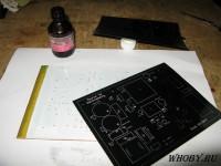 Клеим шаблон для засветки маркировки на глицерин